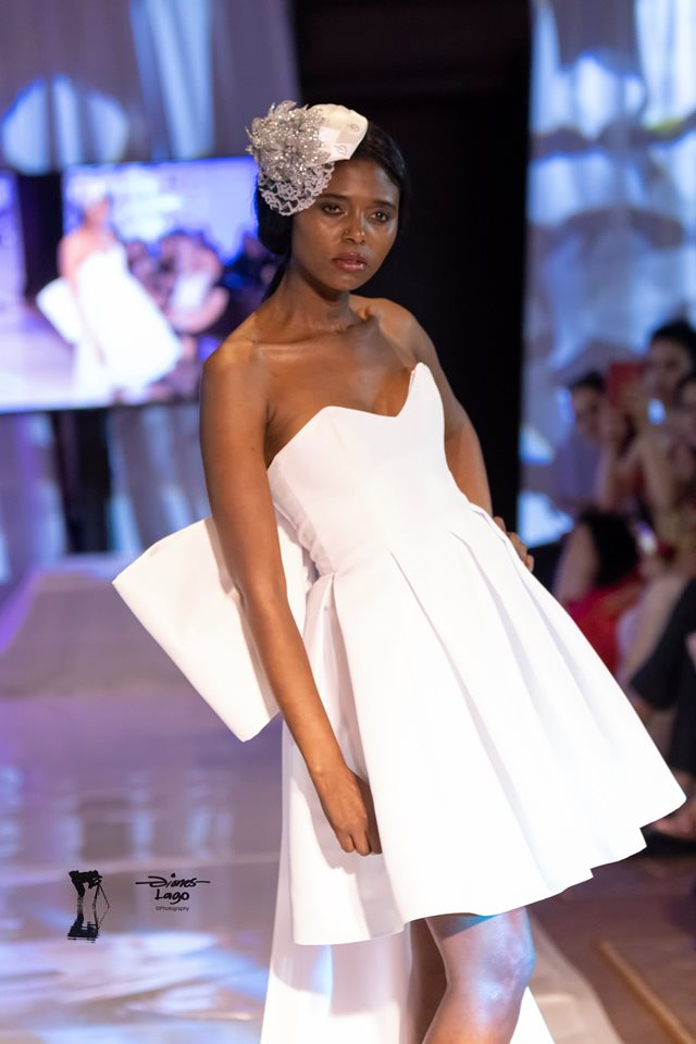 An image of a gown with bow train by Gundula Hirn of Gundula Couture.