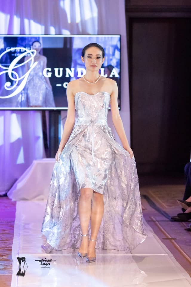 An image of a silver sequined dress created by Gundula Hirn of Gundula Couture.