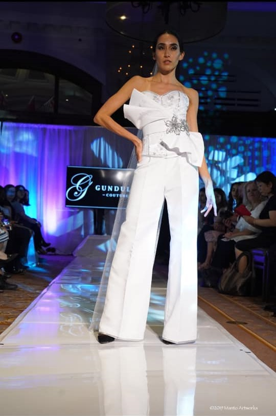 An image of a 3-piece pants ensemble by Gundula Hirn of Gundula Couture.