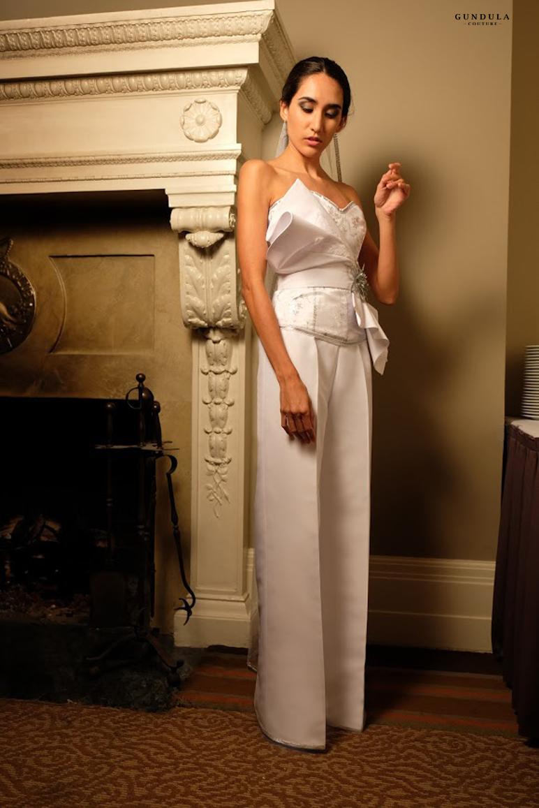 An image of a 3-piece pants ensemble by Gundula Hirn of Gundula Couture.