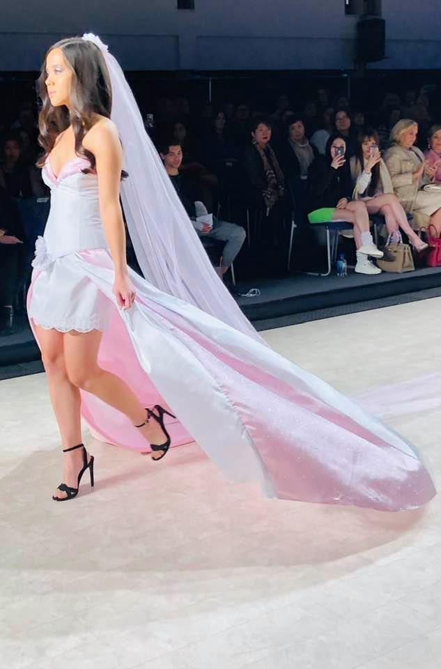 Gundula Couture design River walking the Vancouver Fashion Week runway 2020