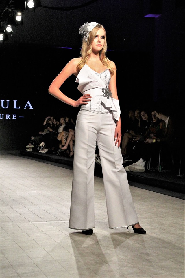 Gundula Couture design of a corset, wide well pants, and a waist application - Picture is of Vancouver Fashion Week Runway 2020 Photographed by Mac C Yeah