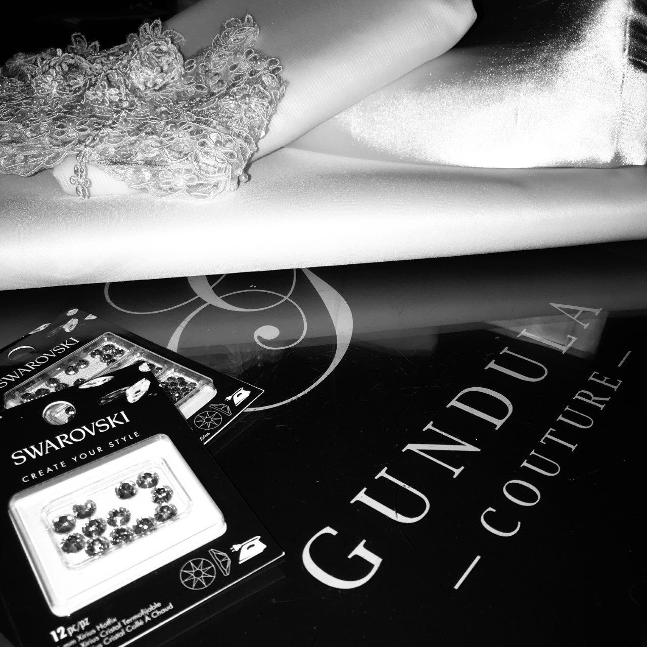 Purchased Fabrics Trims & Notions - Photographed over the Gundula Couture Logo - Photo by Gundula hirn
